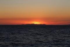 Sonnenuntergang in Kroatien, Adria Stockbild