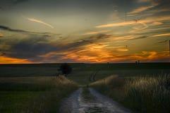Sonnenuntergang in ländlichem Frankreich Lizenzfreie Stockbilder