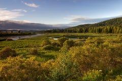 Sonnenuntergang in Lappland Stockbild