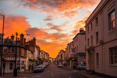 Sonnenuntergang in Leamington-Badekurort Lizenzfreies Stockbild