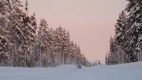 Sonnenuntergang-Licht auf dem Winter Forest Road und Auto stock footage