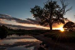Sonnenuntergang Lochkens Schottland Stockbild
