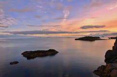 Sonnenuntergang in Lofoten Stockbilder