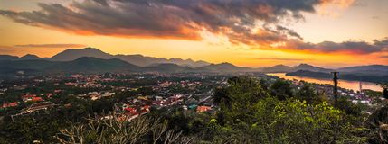 Sonnenuntergang, Luang Prabang, Laos Stockbild