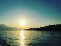 Sonnenuntergang in Luzern, die Schweiz Lizenzfreies Stockfoto