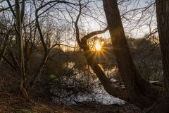 Sonnenuntergang in machen fest lizenzfreies stockfoto