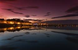 Sonnenuntergang am Malahide Yacht-Schacht Stockbild