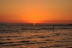 Sonnenuntergang in Maremma stockbild