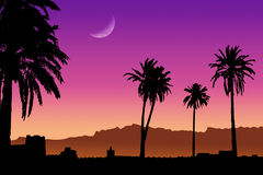 Sonnenuntergang in Marokko stock abbildung