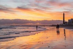 Sonnenuntergang in Maspalomas lizenzfreie stockfotos