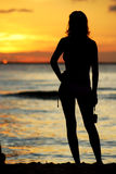 Sonnenuntergang-Mädchen Lizenzfreie Stockbilder