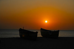 Sonnenuntergang in Meer Stockbilder