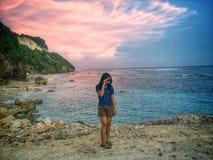 Sonnenuntergang an melasti Strand stockfoto