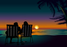 Sonnenuntergang in Miami flitterwochen stock abbildung