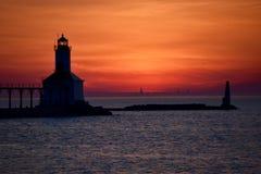 Sonnenuntergang Micigan Stadt und Chicago Stockfotos