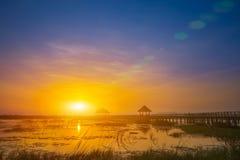 Sonnenuntergang mit Blendenfleck Stockfoto