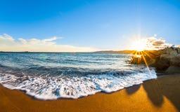 Sonnenuntergang mit goldenem Sand, Var, Frankreich Lizenzfreies Stockbild