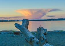 Sonnenuntergang mit grünem Blinken Stockfotografie