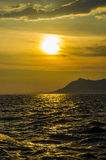 Sonnenuntergang mit Meer stockfotografie