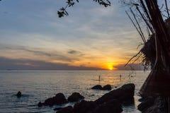 Sonnenuntergang mit schaufelnden Brettern des Mannes und der Frau stockbilder