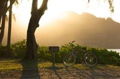 Sonnenuntergang mit von hinten beleuchtetem Fahrrad und BBQ stockfoto