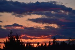 Sonnenuntergang mit Wolken und Bäumen im Schattenbild stockfoto