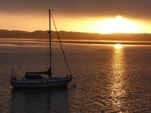 Sonnenuntergang an Morro-Bucht in geschriebener Grafschaft Sans Luis Ibis stockbild