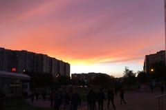 Sonnenuntergang in Moskau und in der U-Bahn stockbild
