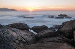 Sonnenuntergang in Muxia Stockbild