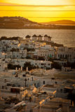 Sonnenuntergang in Mykonos Stockfotos
