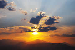 Sonnenuntergang in Nafplio Stockbild