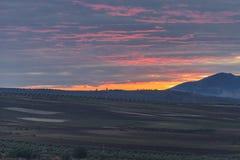 Sonnenuntergang nahe der Stadt von Fès in Marokko Stockfotos