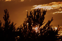Sonnenuntergang nahe Kleinstadt Okrisky Stockfotografie