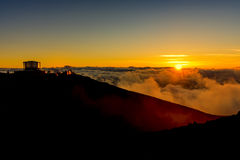 Sonnenuntergang an Nationalpark Maui Hawaii USA Haleakala Lizenzfreies Stockbild