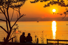 Sonnenuntergang neben dem See Stockfotografie