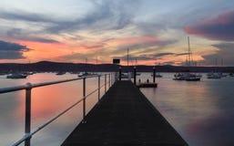 Sonnenuntergang neuer Brighton Public Wharf Saratoga Australia Lizenzfreie Stockfotos