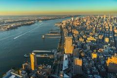 Sonnenuntergang New- Yorkskyline Cityview Manhatten vom Welthandels-Cent Stockfoto