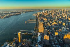 Sonnenuntergang New- Yorkskyline Cityview Manhatten vom Welthandels-Cent Lizenzfreies Stockbild