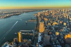 Sonnenuntergang New- Yorkskyline Cityview Manhatten vom Welthandels-Cent Stockbild