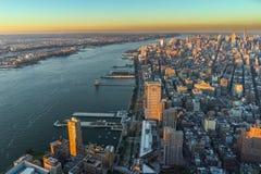 Sonnenuntergang New- Yorkskyline Cityview Manhatten vom Welthandels-Cent Stockbilder