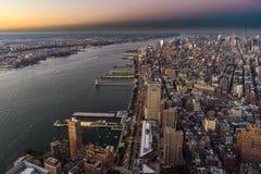 Sonnenuntergang New- Yorkskyline Cityview Manhatten vom Welthandels-Cent Lizenzfreie Stockfotos