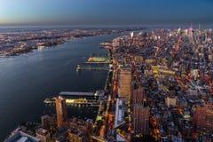 Sonnenuntergang New- Yorkskyline Cityview Manhatten vom Welthandels-Cent Stockfotografie