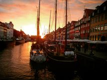 Sonnenuntergang in Newhavn Lizenzfreie Stockfotos