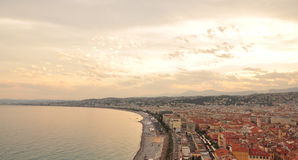 Sonnenuntergang in Nizza, Frankreich Lizenzfreie Stockbilder