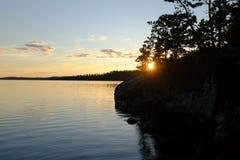 Sonnenuntergang in Nord-Ontario stockfotografie