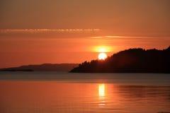 Sonnenuntergang Norwegen Lizenzfreie Stockfotos