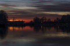 Sonnenuntergang in Novi Sad Lizenzfreie Stockbilder
