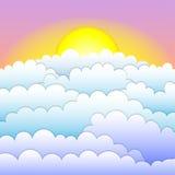 Sonnenuntergang oder Sonnenaufgang mit kalten Wolken und Morgen ligth stock abbildung
