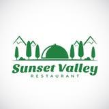 Sonnenuntergang-oder Sonnenaufgang-Tal-Zusammenfassungs-Vektor-Logo Lizenzfreies Stockbild