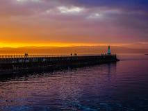 Sonnenuntergang am Ogden Point-Wellenbrecher, Victoria BC Stockfotos